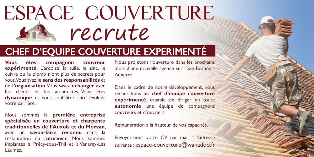 Espace Couverture, spécialiste en couverture et charpente en Auxois-Morvan, recrute
