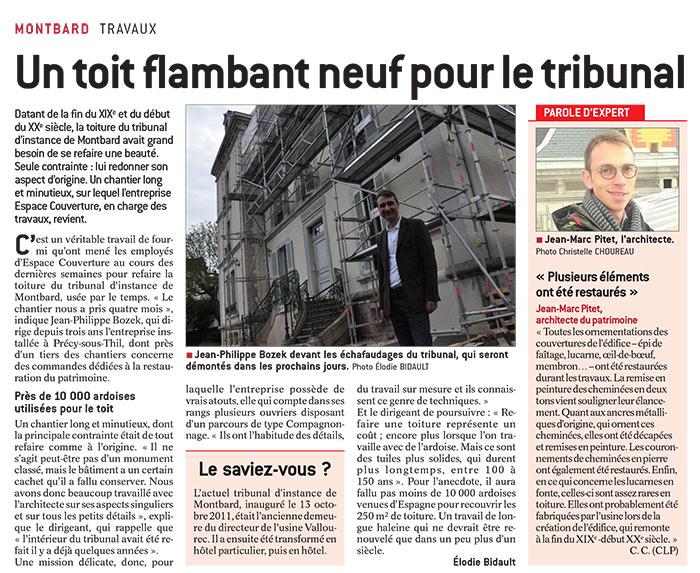 article de presse paru dans le bien public sur la réhabilitation de la toiture du tribunal de montbard réalisée par Espace couverture couvreur côte d'or